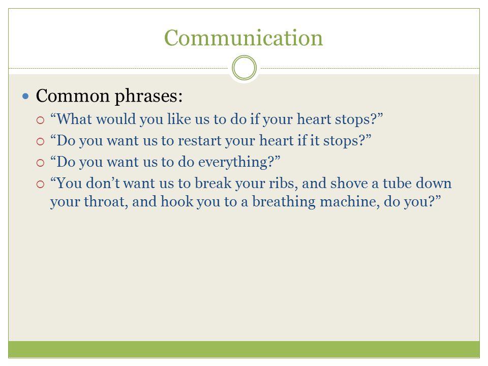 Communication Common phrases: