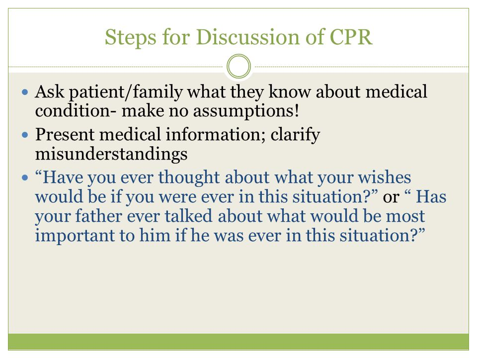 Steps for Discussion of CPR