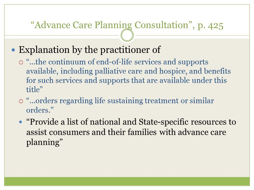 Advance Care Planning Consultation , p. 425