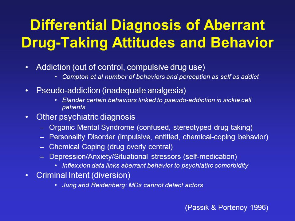 Differential Diagnosis of Aberrant Drug-Taking Attitudes and Behavior