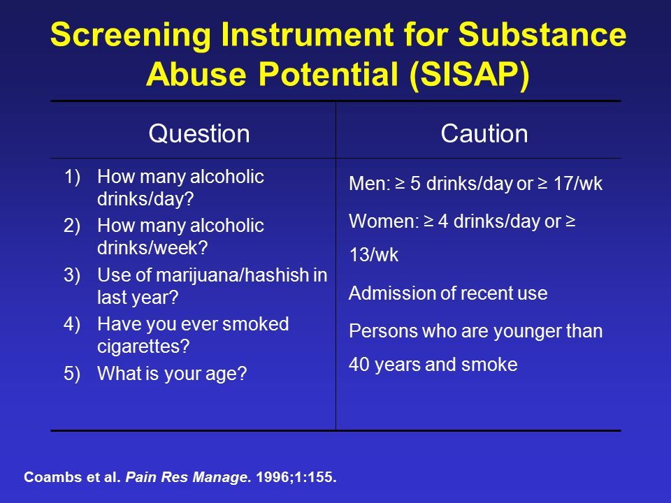 Screening Instrument for Substance Abuse Potential (SISAP)