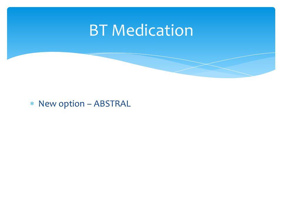 BT Medication New option – ABSTRAL