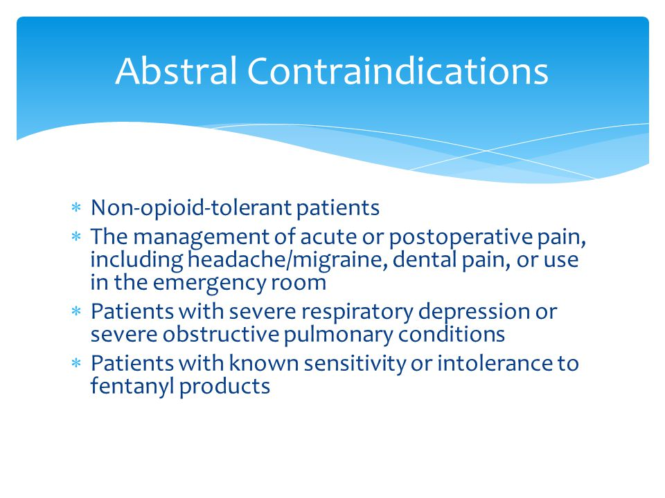 Abstral Contraindications