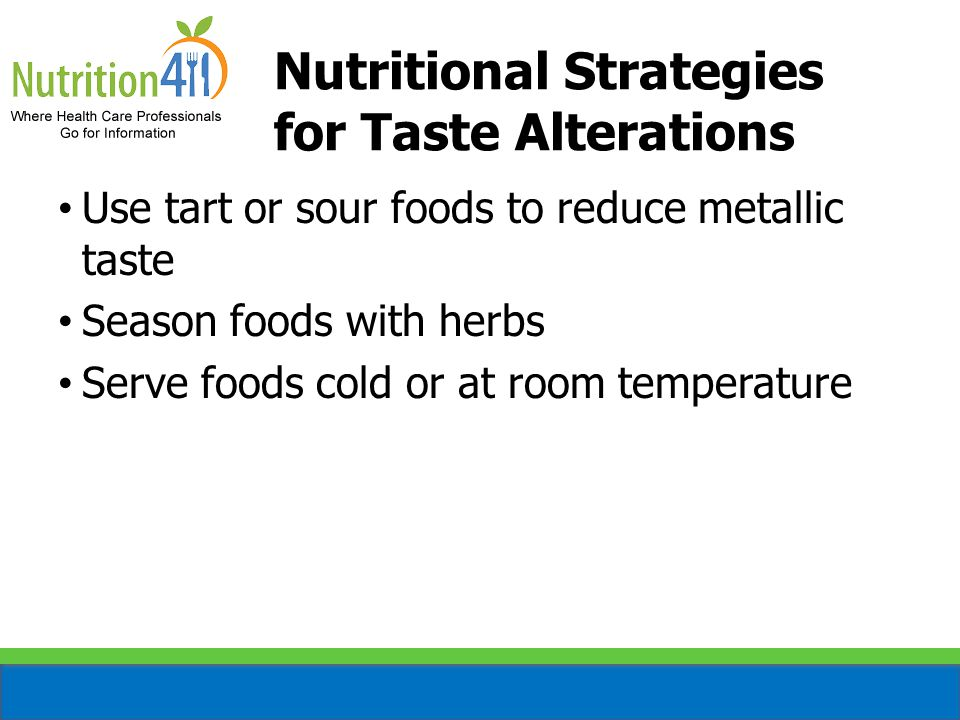 Nutritional Strategies for Taste Alterations