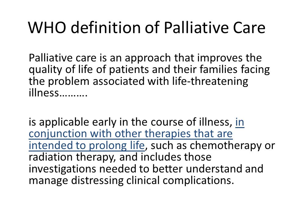WHO definition of Palliative Care