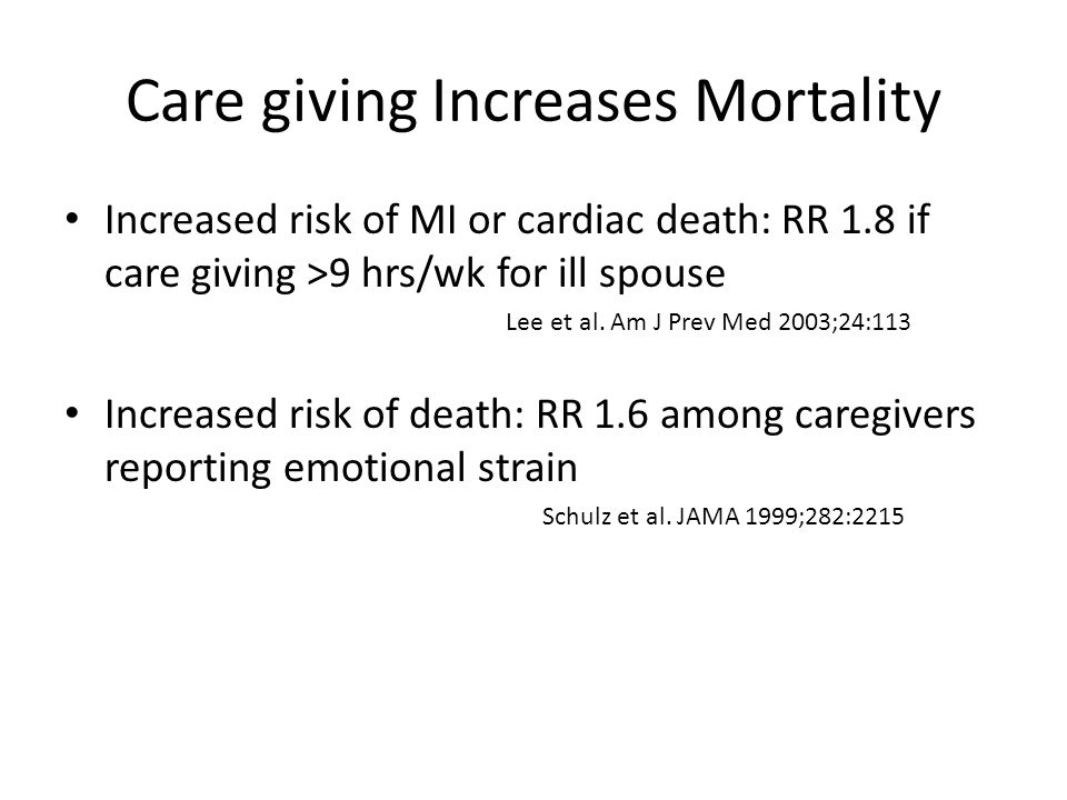 Care giving Increases Mortality