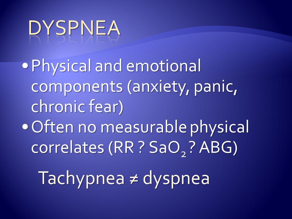 Dyspnea Tachypnea ≠ dyspnea