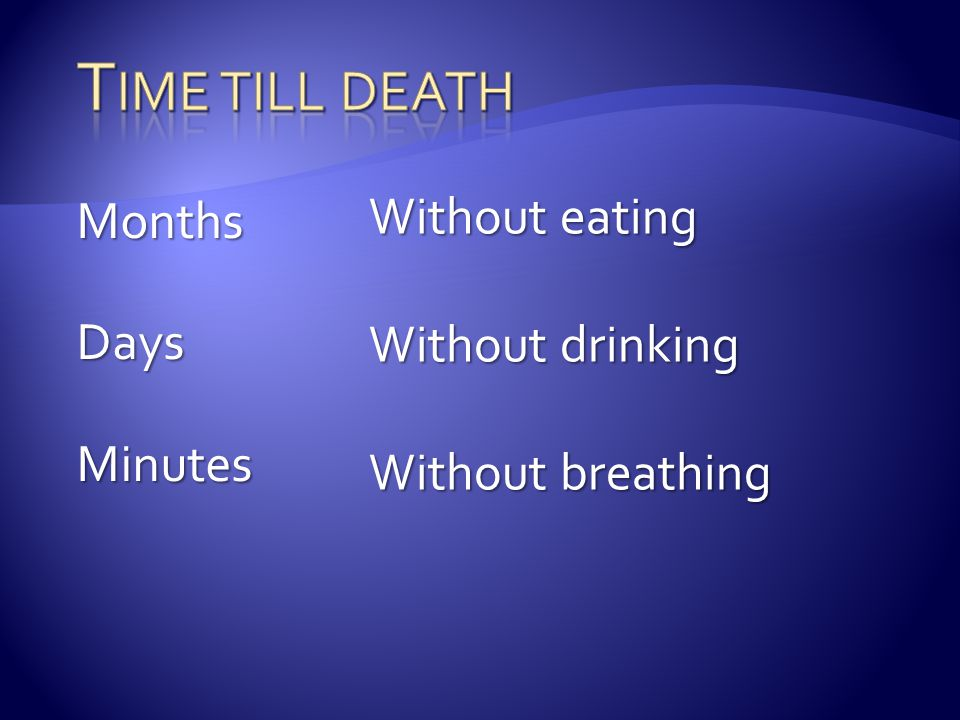 Time till death Without eating Months Without drinking Days