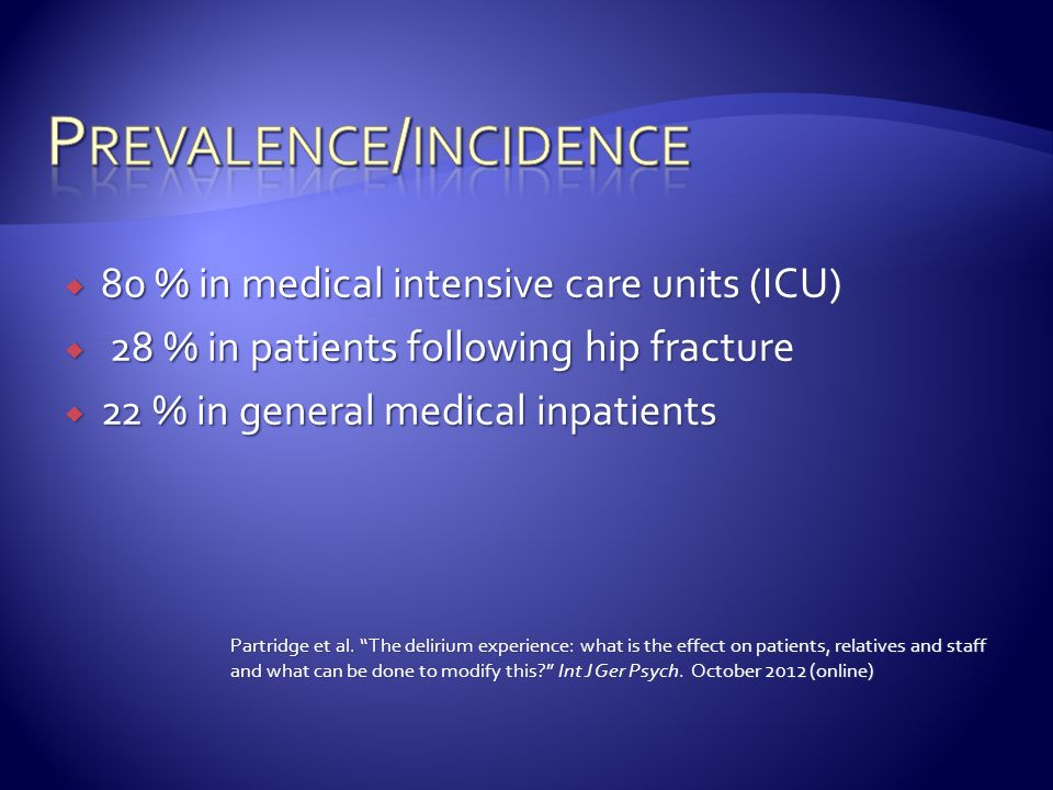 Prevalence/incidence