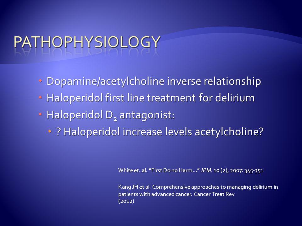 pathophysiology Dopamine/acetylcholine inverse relationship