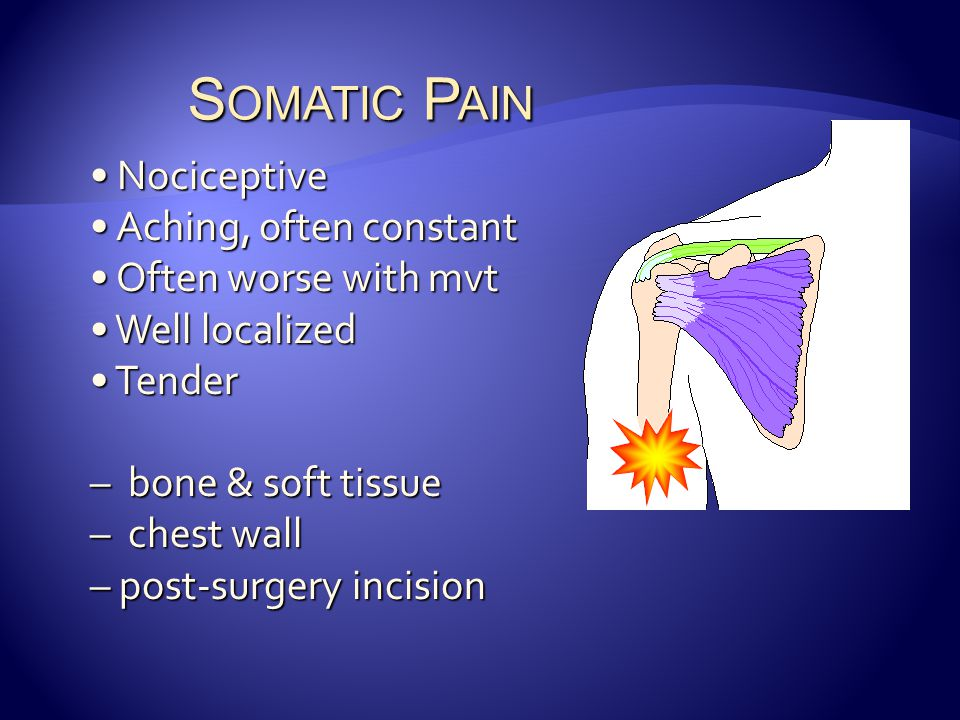 Somatic Pain Nociceptive Aching, often constant Often worse with mvt