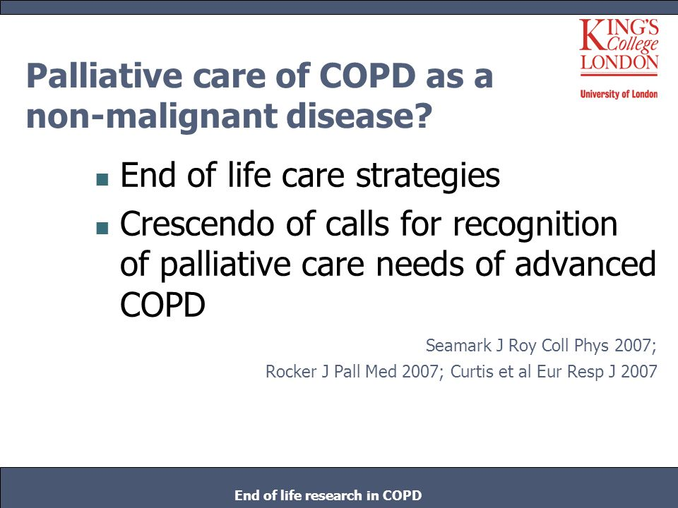 Palliative care of COPD as a non-malignant disease