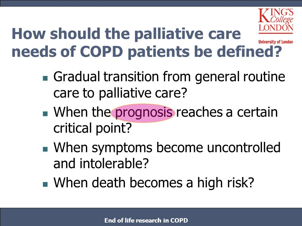How should the palliative care needs of COPD patients be defined