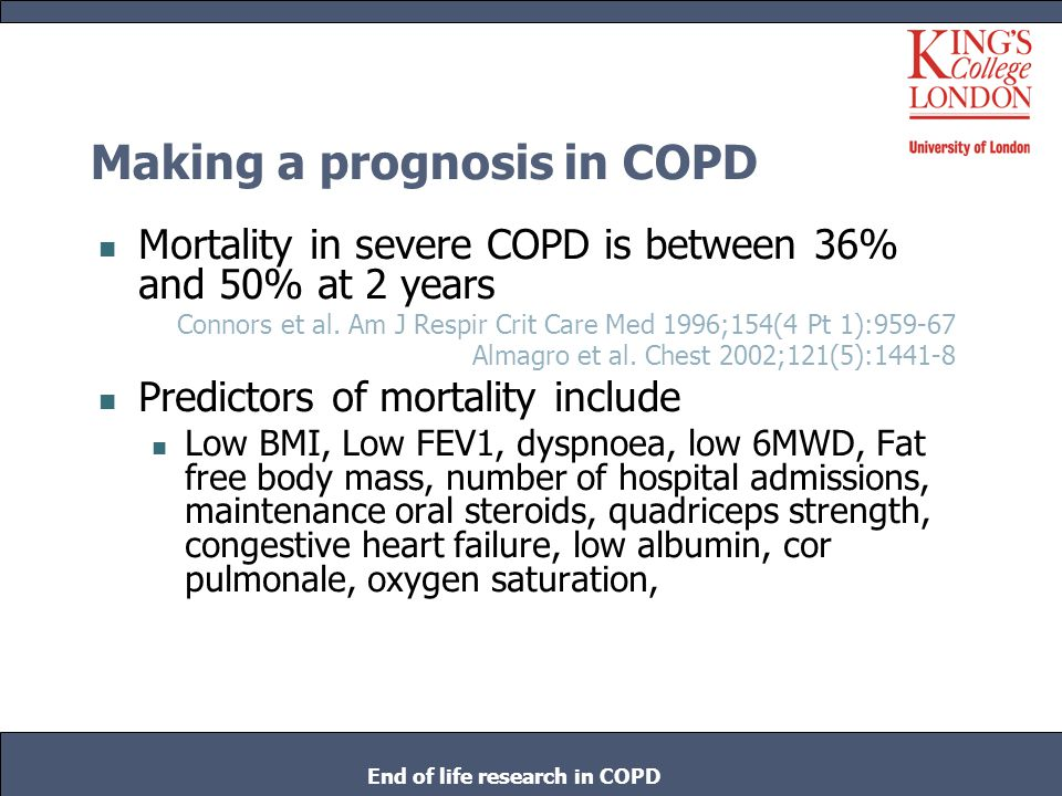 Making a prognosis in COPD