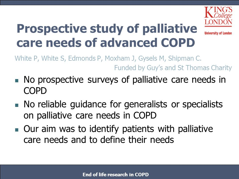 Prospective study of palliative care needs of advanced COPD