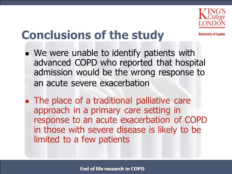 Conclusions of the study