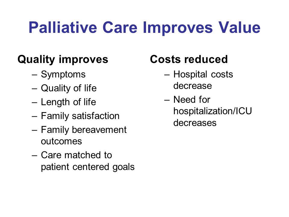 Palliative Care Improves Value