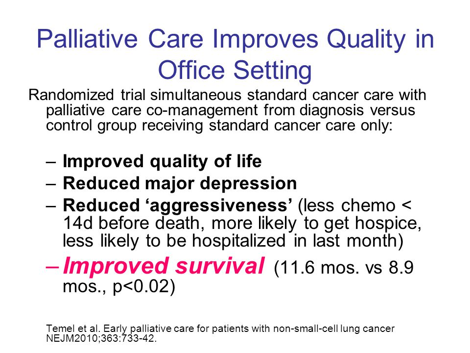 Palliative Care Improves Quality in Office Setting