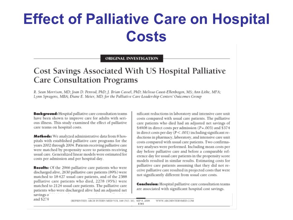 Effect of Palliative Care on Hospital Costs