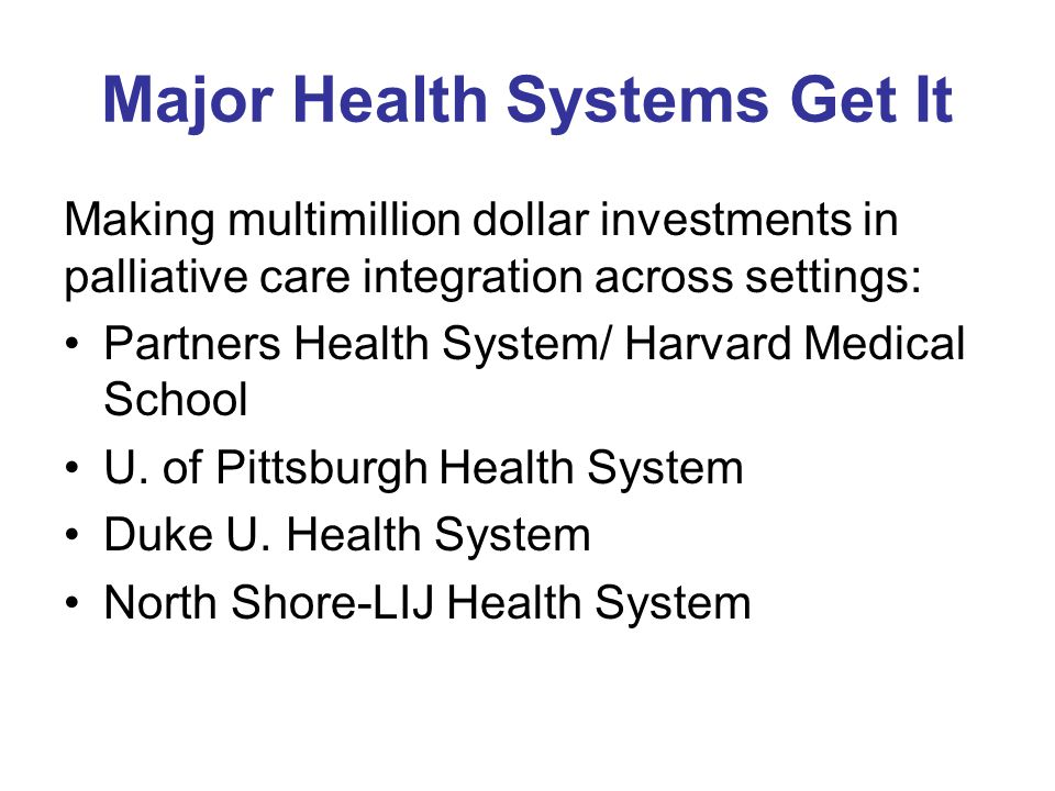 Major Health Systems Get It