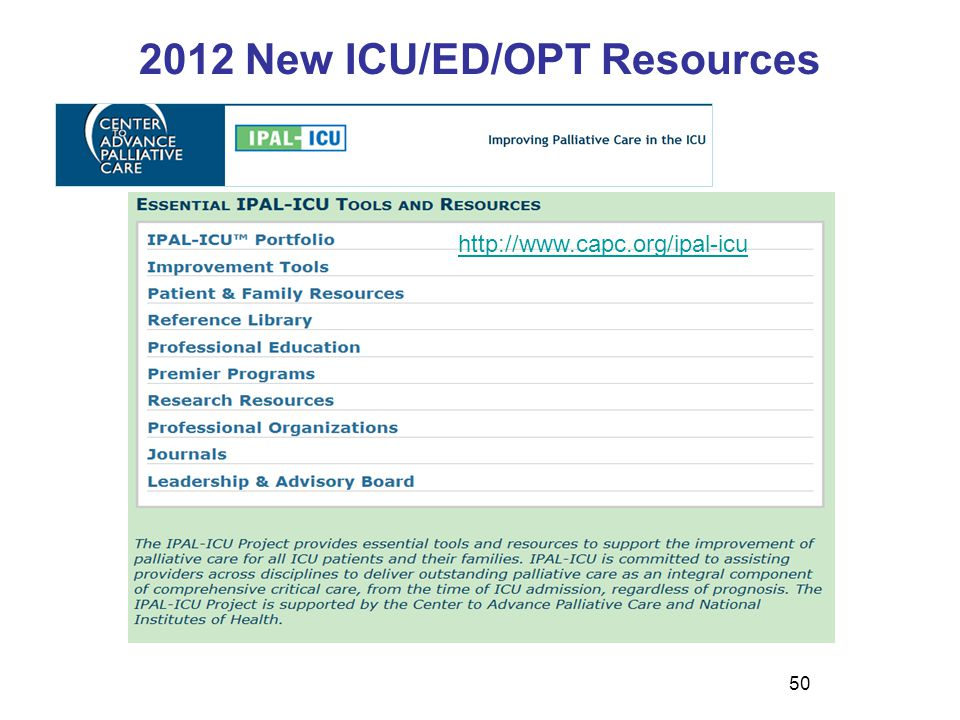 2012 New ICU/ED/OPT Resources