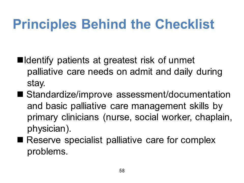 Principles Behind the Checklist