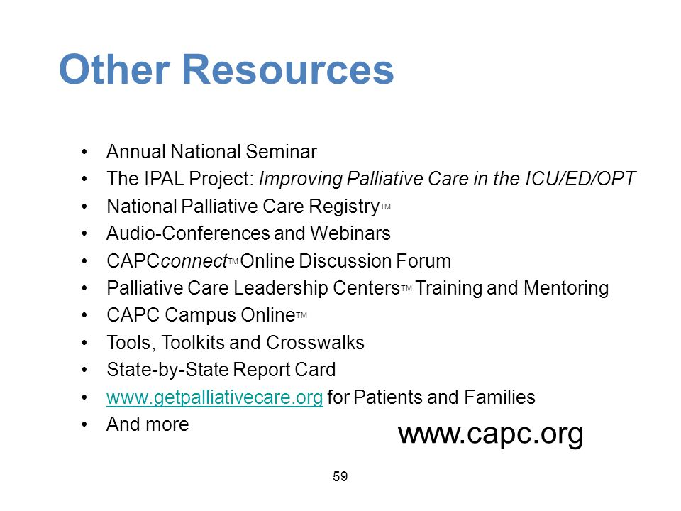 Other Resources www.capc.org Annual National Seminar