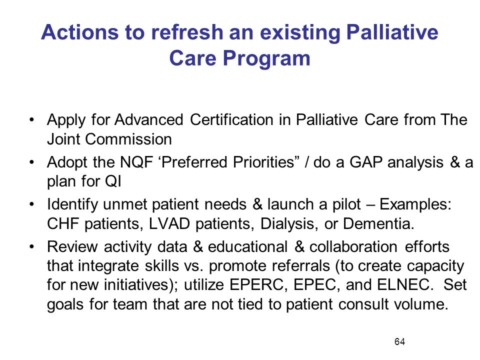 Actions to refresh an existing Palliative Care Program