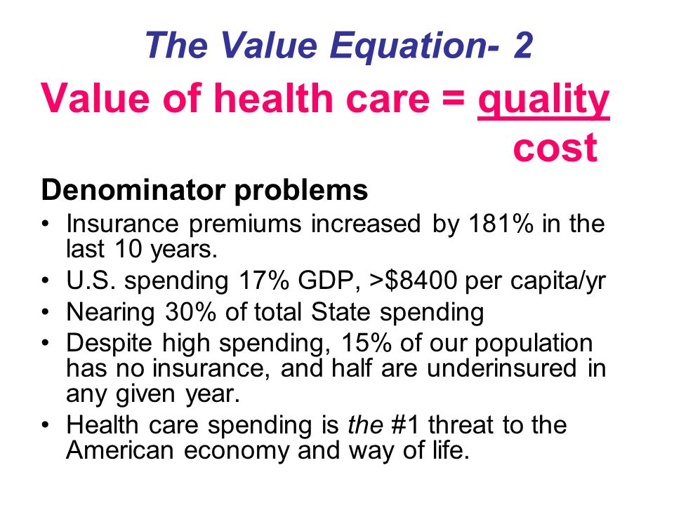 Value of health care = quality cost