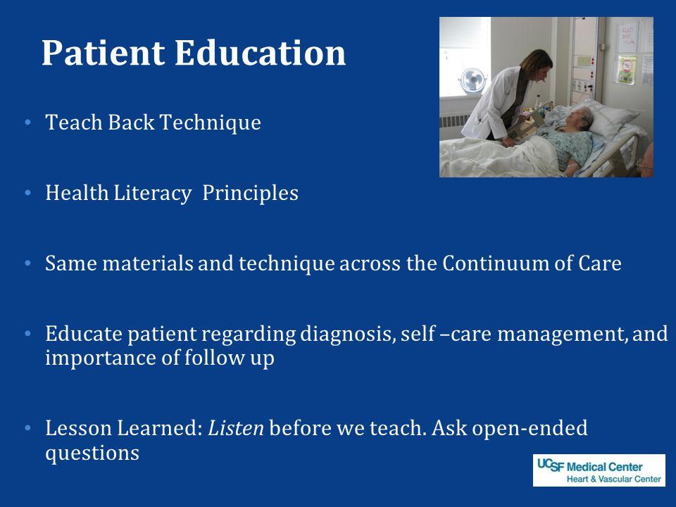 Patient Education Teach Back Technique Health Literacy Principles