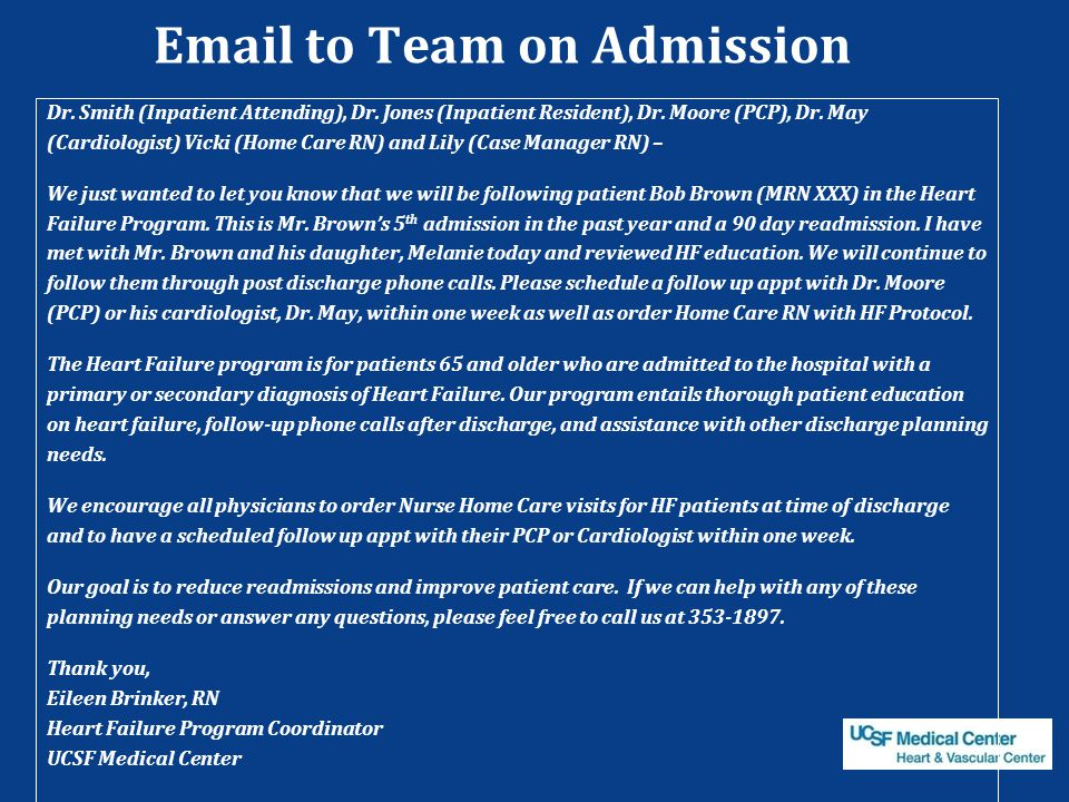 Email to Team on Admission
