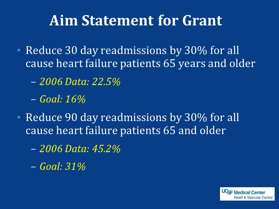 Aim Statement for Grant