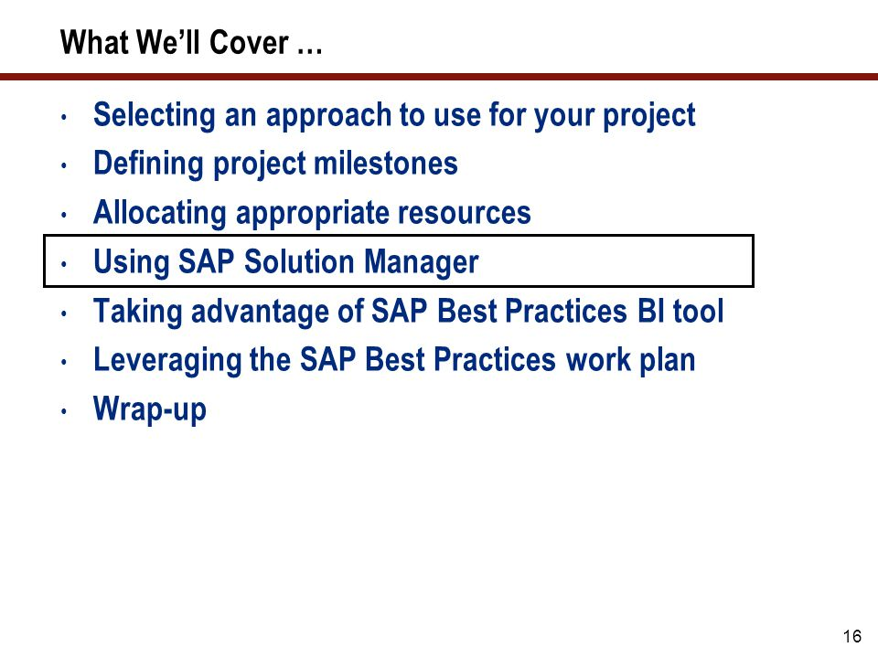 SAP Solution Manager: Don't Build Everything from Scratch