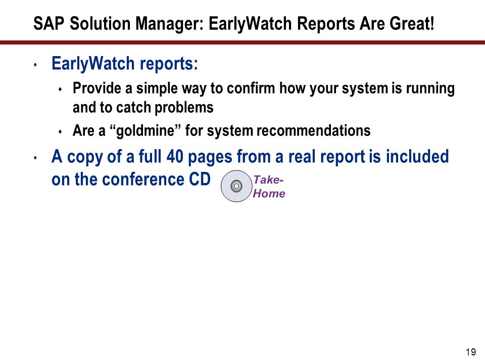 SAP Solution Manager: EarlyWatch Reports Sample