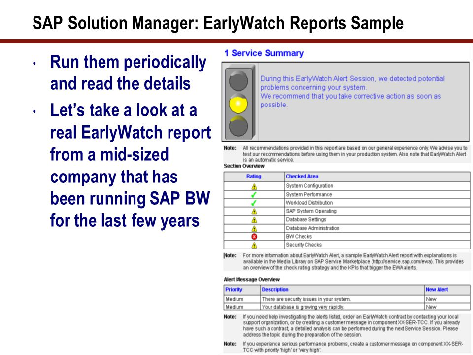 SAP Solution Manager: EarlyWatch Reports Sample (cont.)