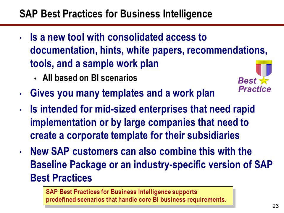 SAP Best Practices for Business Intelligence (cont.)