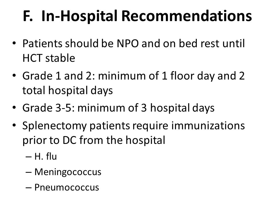 F. In-Hospital Recommendations