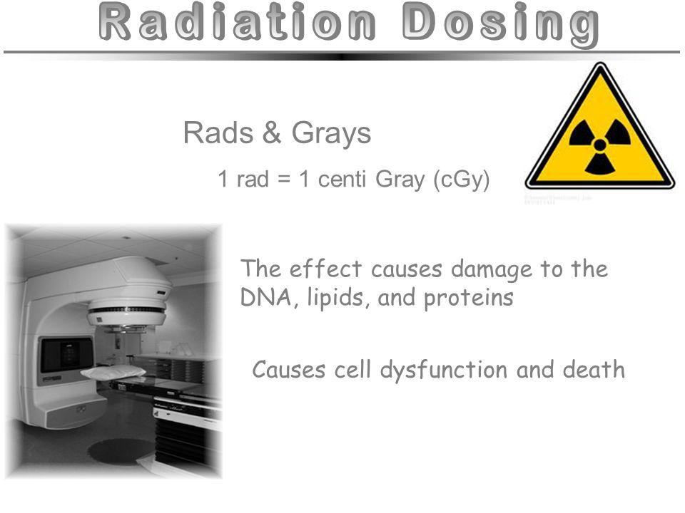 Radiation Dosing Rads & Grays 1 rad = 1 centi Gray (cGy)