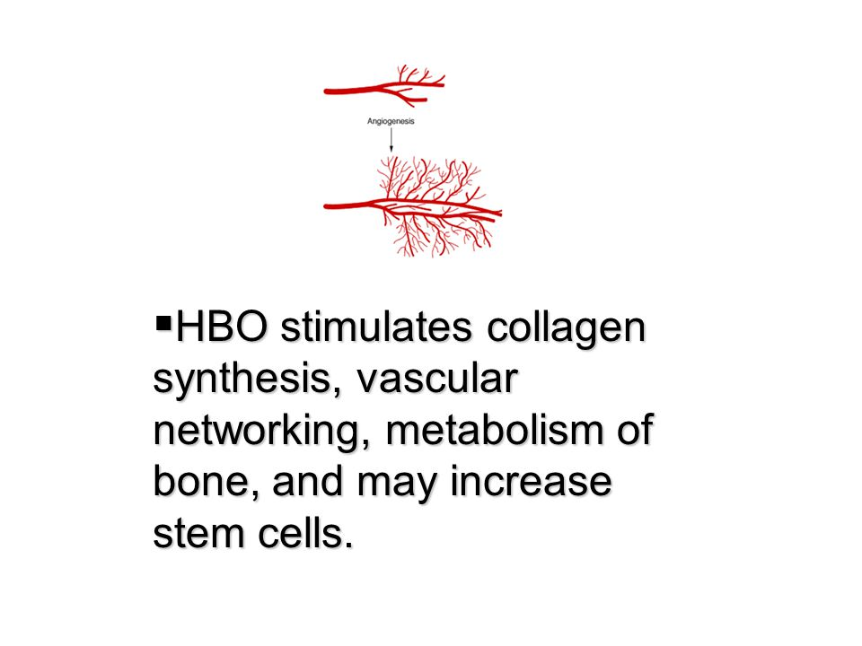 HBO stimulates collagen synthesis, vascular networking, metabolism of bone, and may increase stem cells.