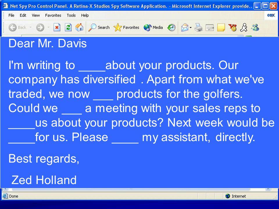 Dear Mr. Davis