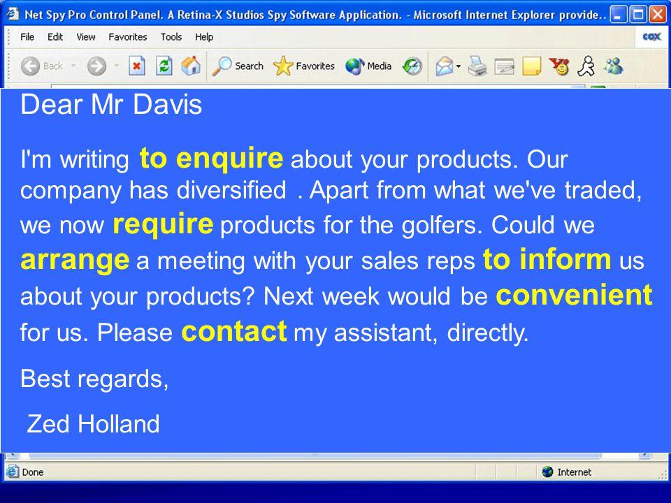 Dear Mr Davis