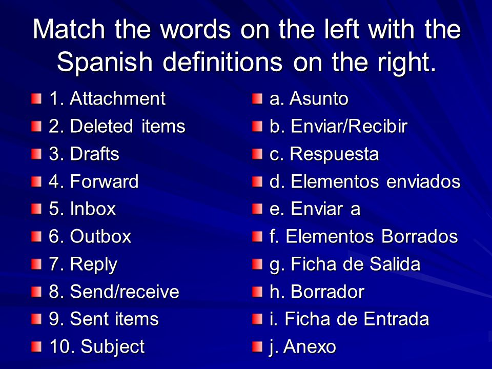 Match the words on the left with the Spanish definitions on the right.