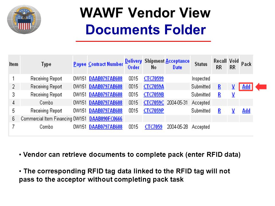 WAWF Vendor View Documents Folder