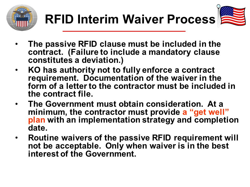 RFID Interim Waiver Process