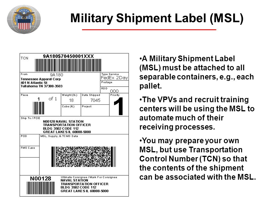 Military Shipment Label (MSL)