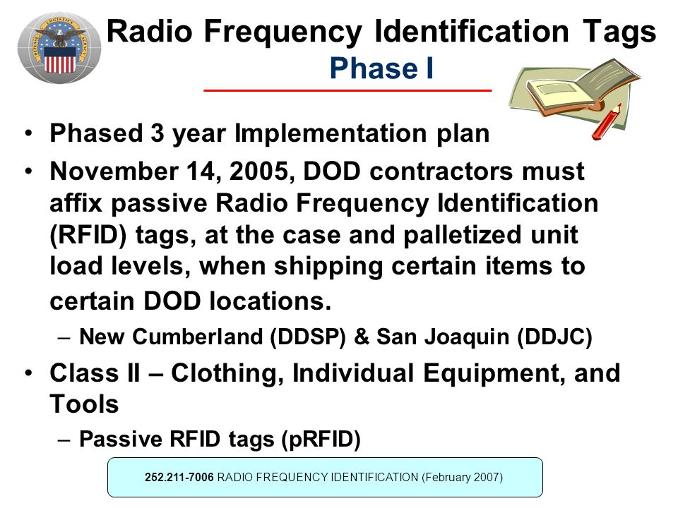 Radio Frequency Identification Tags Phase I