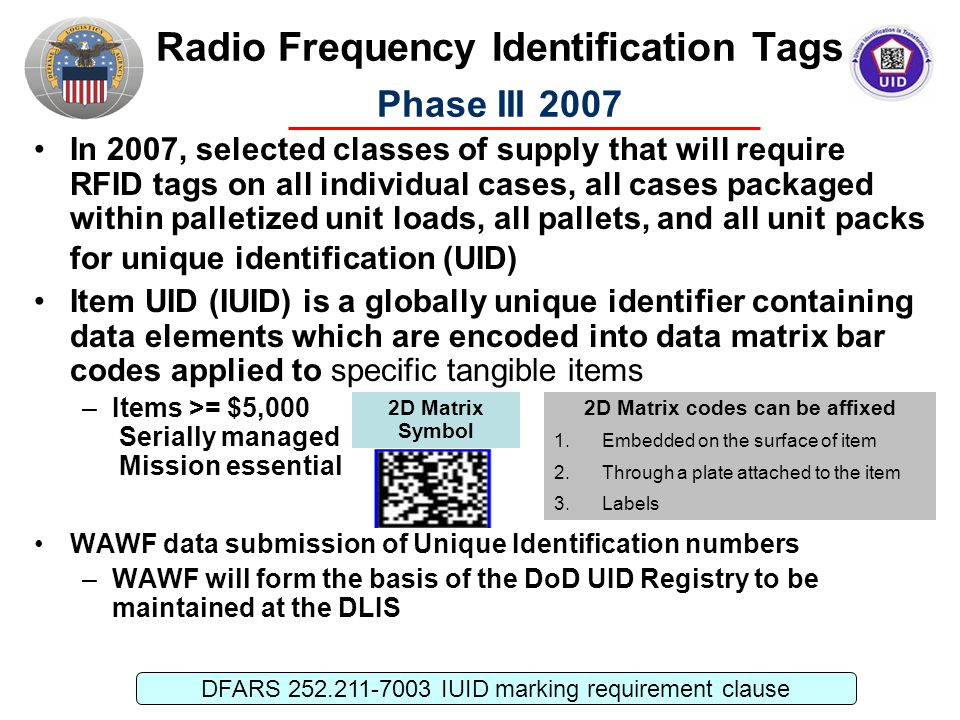 Radio Frequency Identification Tags Phase III 2007