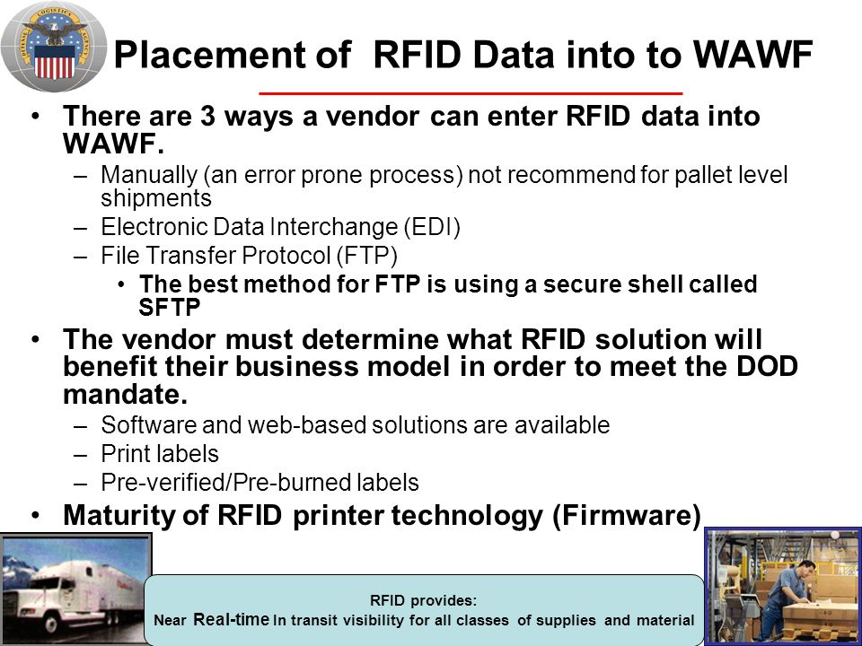 Placement of RFID Data into to WAWF