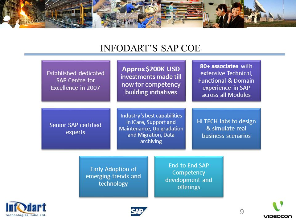 INFODART'S SAP COE Established dedicated SAP Centre for Excellence in 2007.