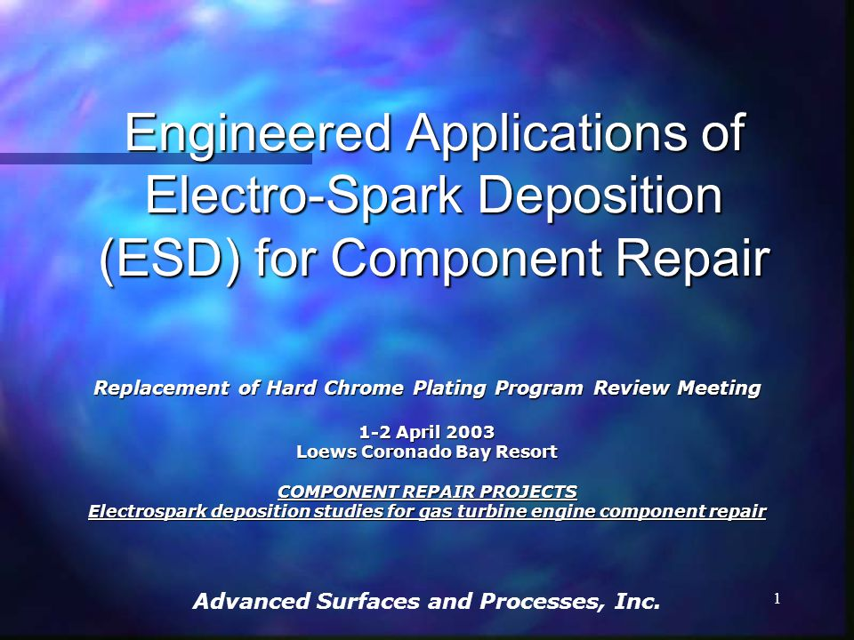 Engineered Applications of Electro-Spark Deposition (ESD) for Component Repair